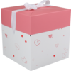 LOVLY® Box, Love and hearts, pop-up, 15x15x15cm, wit/Roze